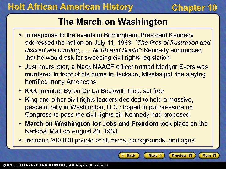 Holt African American History Chapter 10 The March on Washington • In response to
