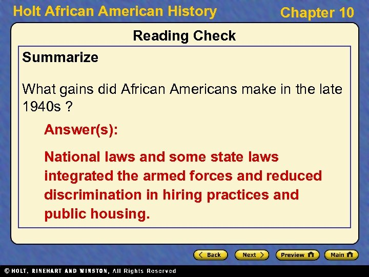 Holt African American History Chapter 10 Reading Check Summarize What gains did African Americans