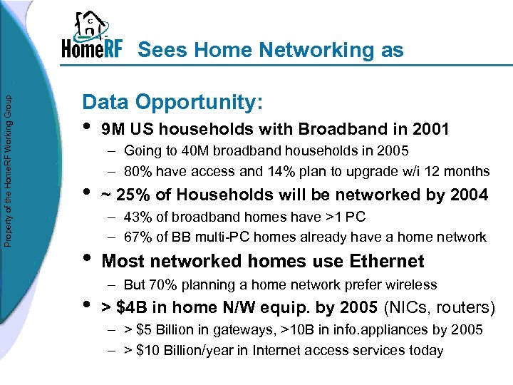 Property of the Home. RF Working Group Sees Home Networking as Data Opportunity: •