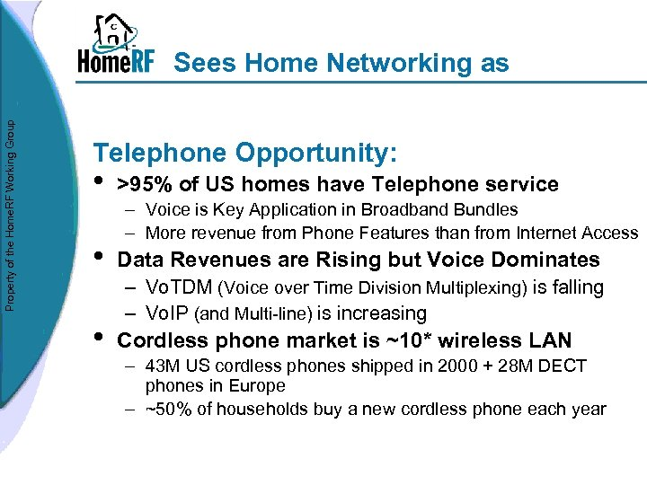Property of the Home. RF Working Group Sees Home Networking as Telephone Opportunity: •