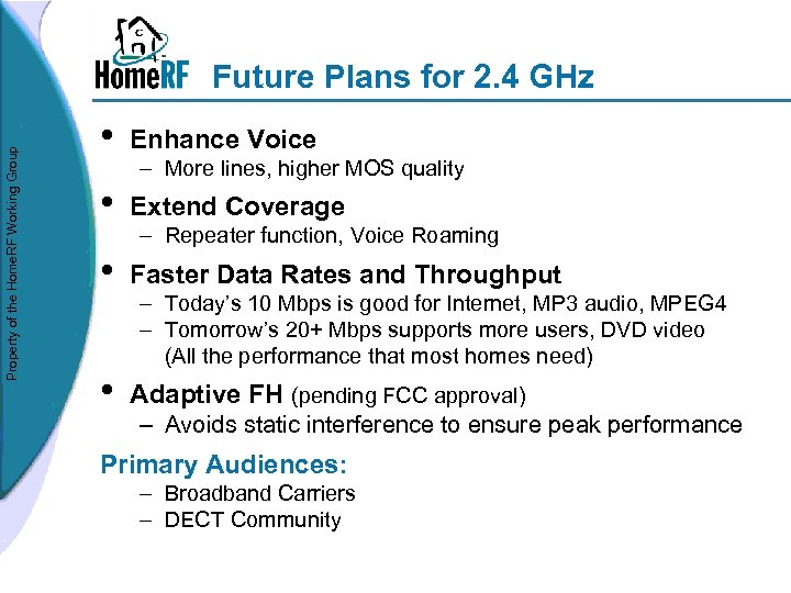 Property of the Home. RF Working Group Future Plans for 2. 4 GHz •