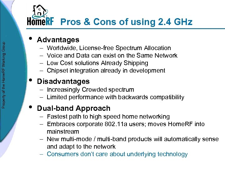 Property of the Home. RF Working Group Pros & Cons of using 2. 4