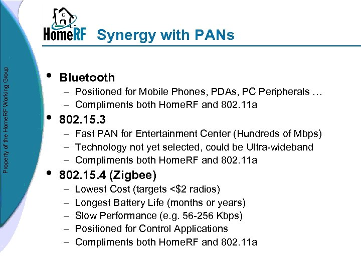 Property of the Home. RF Working Group Synergy with PANs • • • Bluetooth