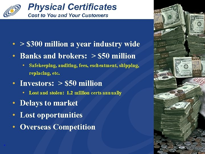 Physical Certificates Cost to You and Your Customers • > $300 million a year