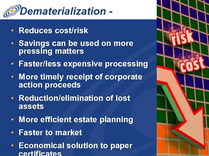 Dematerialization Benefits • Reduces cost/risk • Savings can be used on more pressing matters