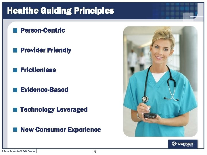 Healthe Guiding Principles Person-Centric Provider Friendly Frictionless Evidence-Based Technology Leveraged New Consumer Experience ©
