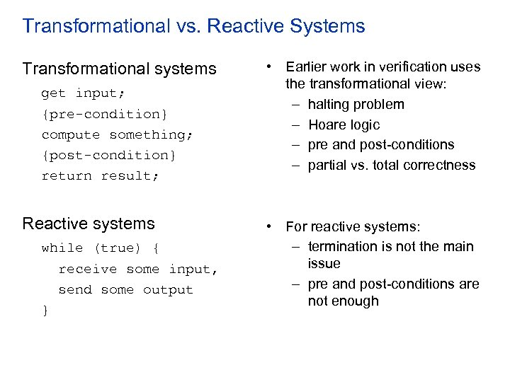 Transformational vs. Reactive Systems Transformational systems get input; {pre-condition} compute something; {post-condition} return result;