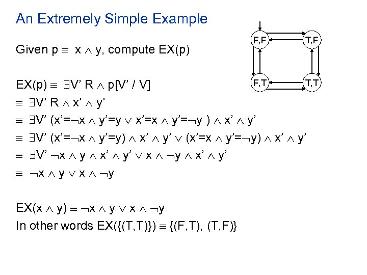 An Extremely Simple Example Given p x y, compute EX(p) F, F T, F