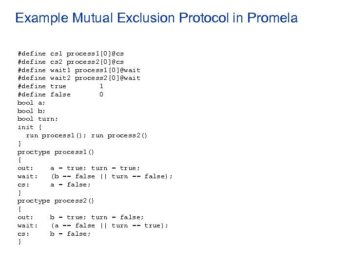 Example Mutual Exclusion Protocol in Promela #define cs 1 process 1[0]@cs #define cs 2
