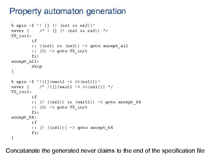 Property automaton generation % spin -f