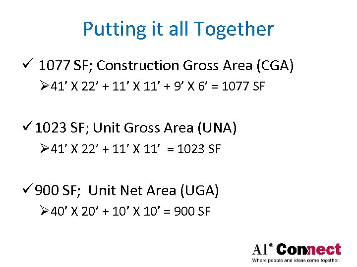 Putting it all Together ü 1077 SF; Construction Gross Area (CGA) Ø 41' X