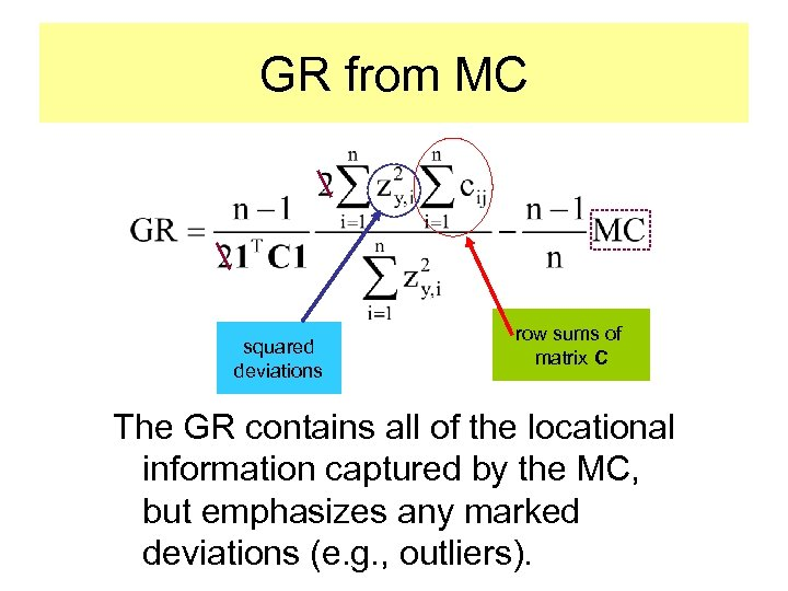 GR from MC squared deviations row sums of matrix C The GR contains all