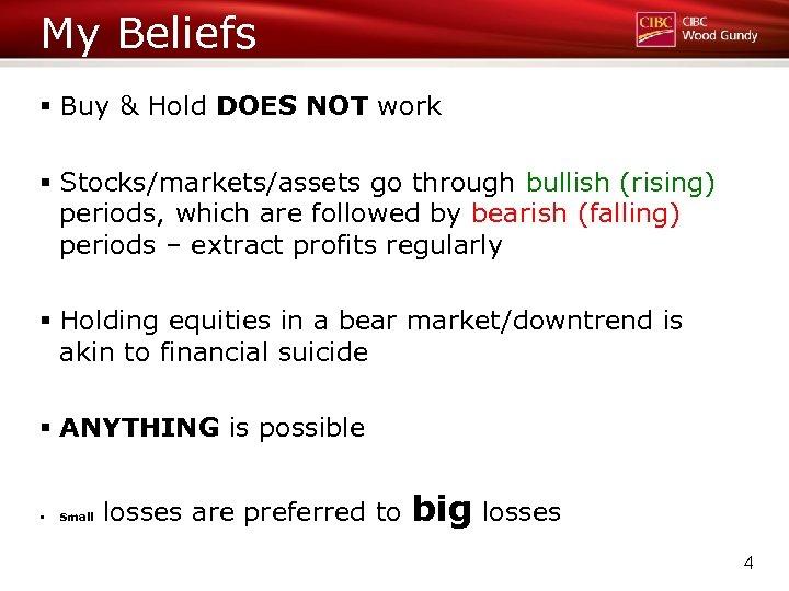 My Beliefs § Buy & Hold DOES NOT work § Stocks/markets/assets go through bullish