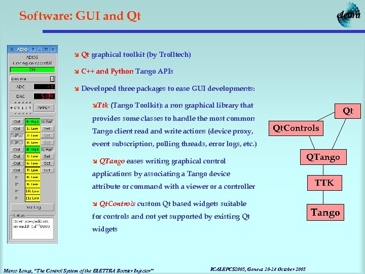 Software: GUI and Qt î Qt graphical toolkit (by Trolltech) î C++ and Python