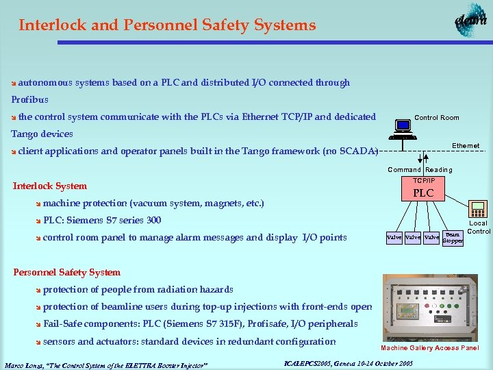 Interlock and Personnel Safety Systems î autonomous systems based on a PLC and distributed