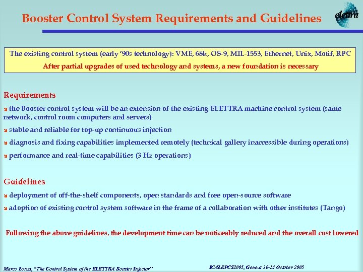 Booster Control System Requirements and Guidelines The existing control system (early ' 90 s
