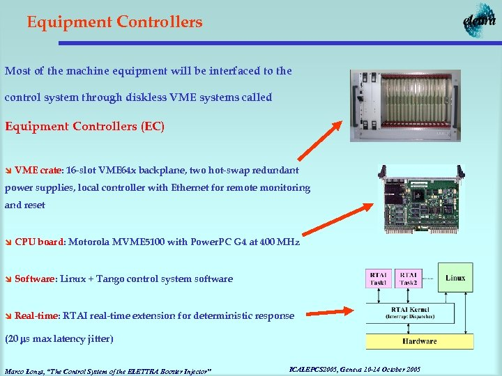 Equipment Controllers Most of the machine equipment will be interfaced to the control system
