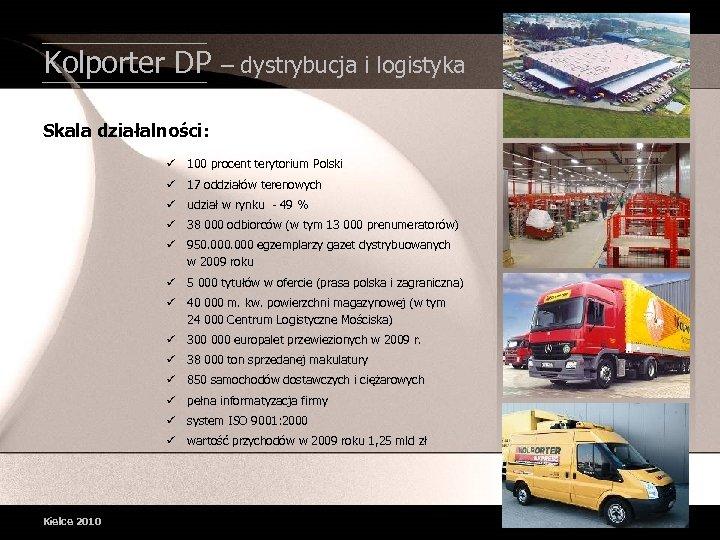Kolporter DP – dystrybucja i logistyka Skala działalności: ü 100 procent terytorium Polski ü