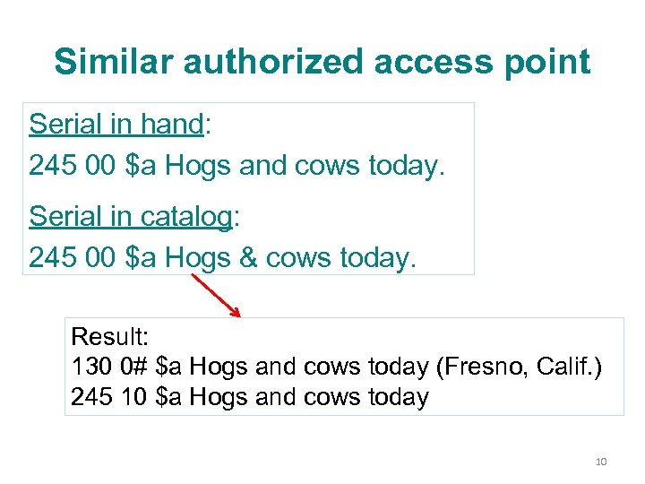 Similar authorized access point Serial in hand: 245 00 $a Hogs and cows today.