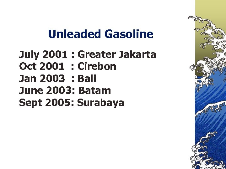 Unleaded Gasoline July 2001 : Greater Jakarta Oct 2001 : Cirebon Jan 2003 :