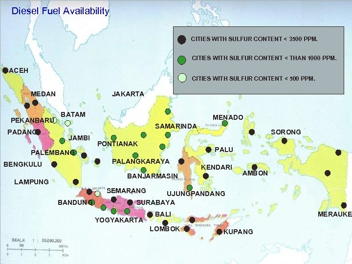 Diesel Fuel Availability CITIES WITH SULFUR CONTENT < 3500 PPM. CITIES WITH SULFUR CONTENT