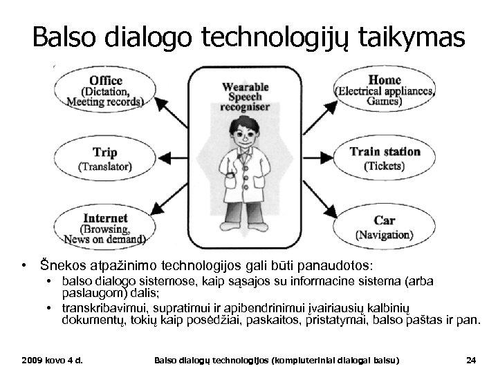 Balso dialogo technologijų taikymas • Šnekos atpažinimo technologijos gali būti panaudotos: • balso dialogo