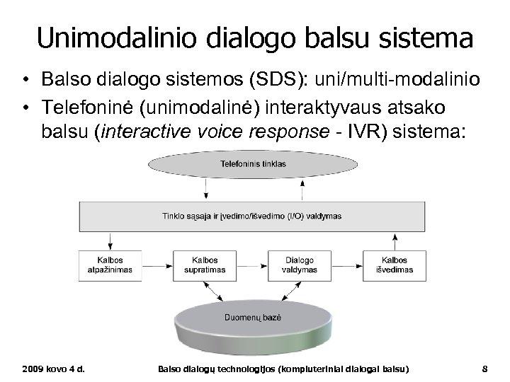 Unimodalinio dialogo balsu sistema • Balso dialogo sistemos (SDS): uni/multi-modalinio • Telefoninė (unimodalinė) interaktyvaus