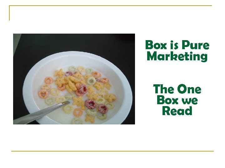 Box is Pure Marketing The One Box we Read