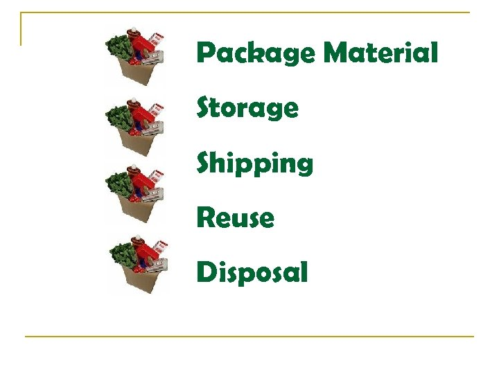 Package Material Storage Shipping Reuse Disposal