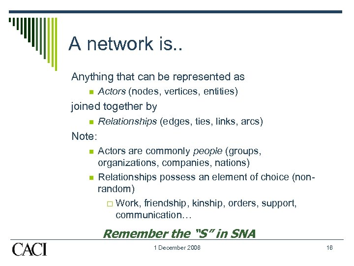 A network is. . Anything that can be represented as n Actors (nodes, vertices,