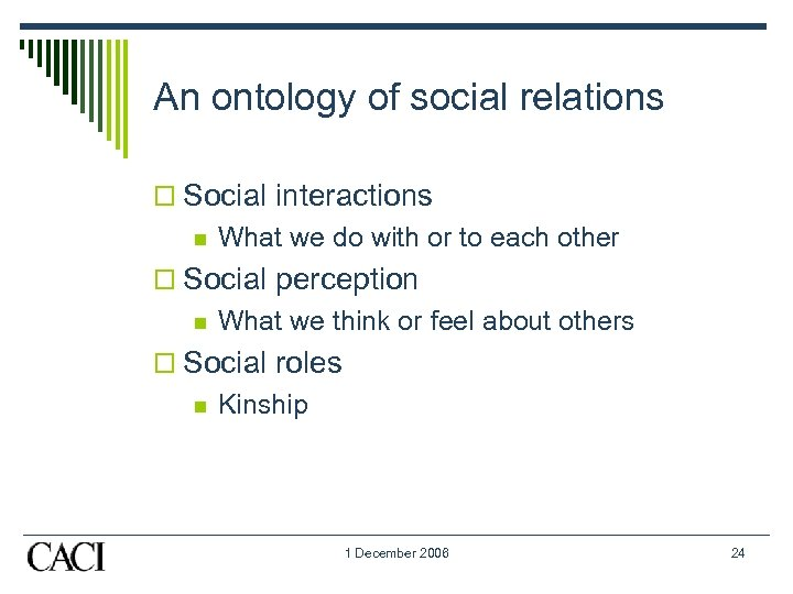 An ontology of social relations o Social interactions n What we do with or