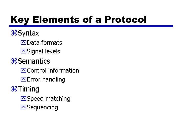 Key Elements of a Protocol z Syntax y. Data formats y. Signal levels z