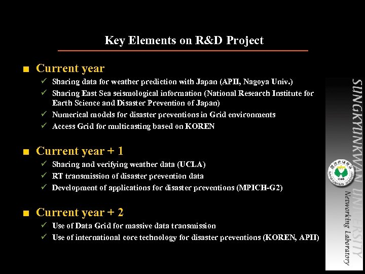 Key Elements on R&D Project ■ Current year ü Sharing data for weather prediction