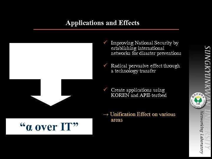 """Applications and Effects """"ET over IT"""" Construction of co-work environments based on KOREN and"""