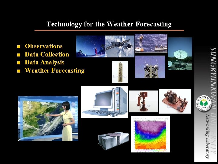 Technology for the Weather Forecasting ■ ■ Observations Data Collection Data Analysis Weather Forecasting