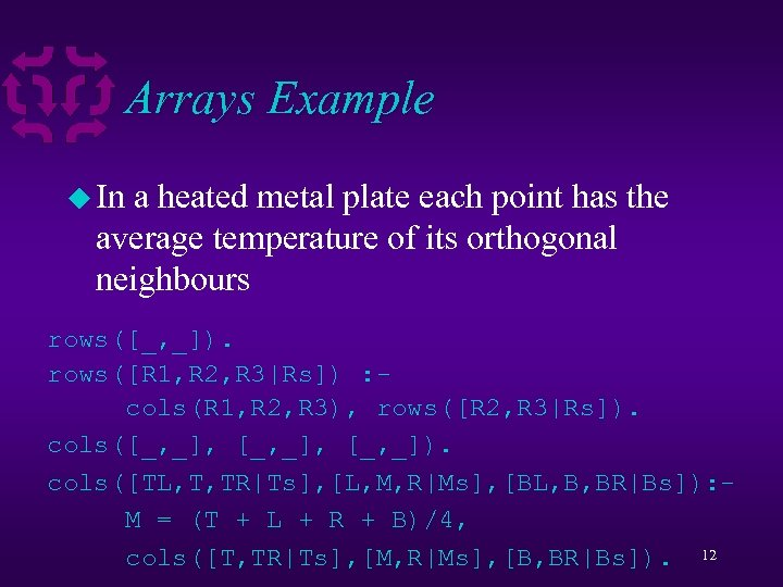 Arrays Example u In a heated metal plate each point has the average temperature