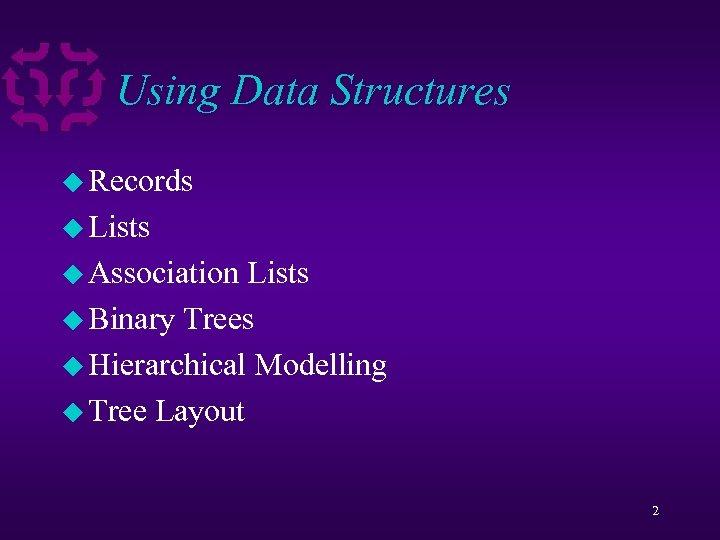 Using Data Structures u Records u Lists u Association Lists u Binary Trees u