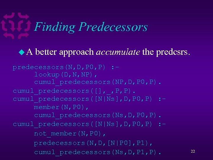 Finding Predecessors u. A better approach accumulate the predcsrs. predecessors(N, D, P 0, P)