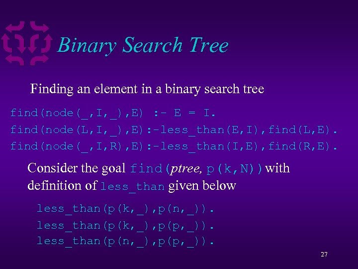 Binary Search Tree Finding an element in a binary search tree find(node(_, I, _),