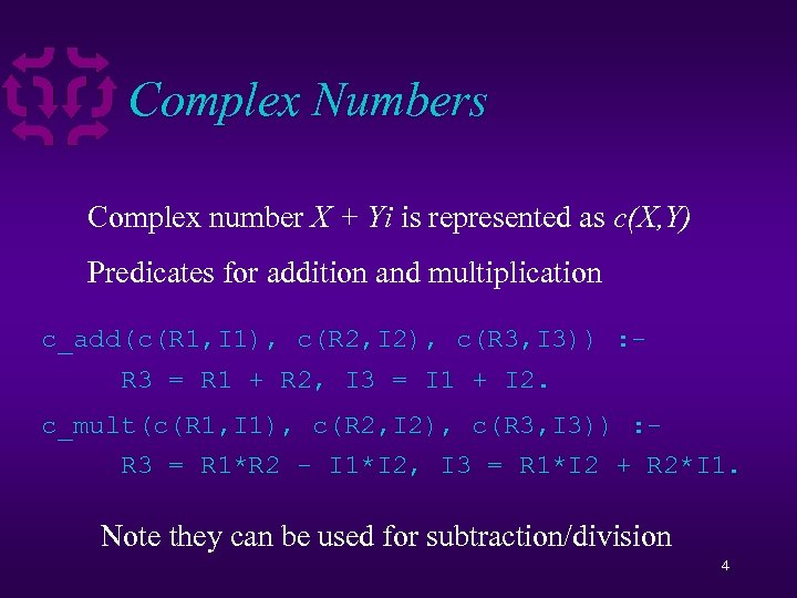 Complex Numbers Complex number X + Yi is represented as c(X, Y) Predicates for
