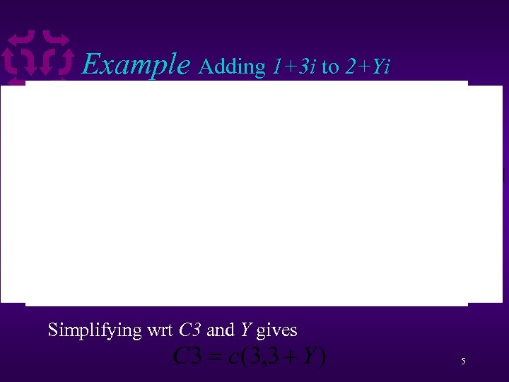 Example Adding 1+3 i to 2+Yi Simplifying wrt C 3 and Y gives 5