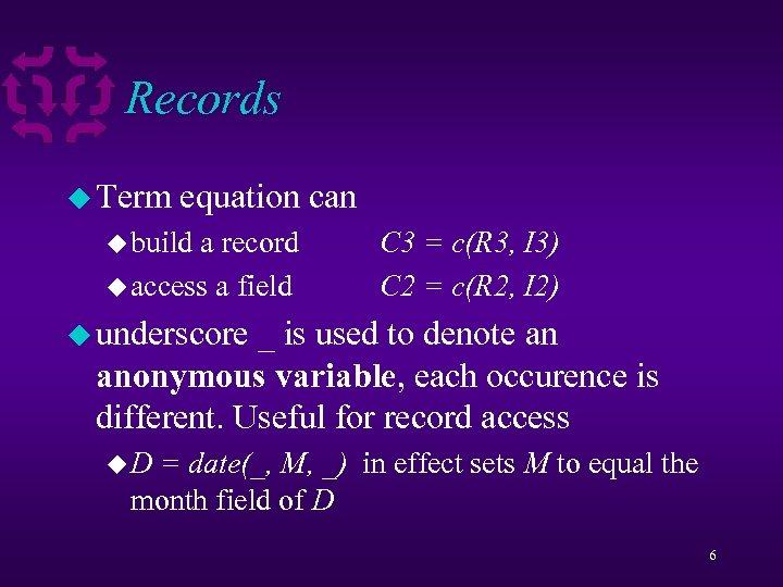 Records u Term equation can u build a record u access a field C