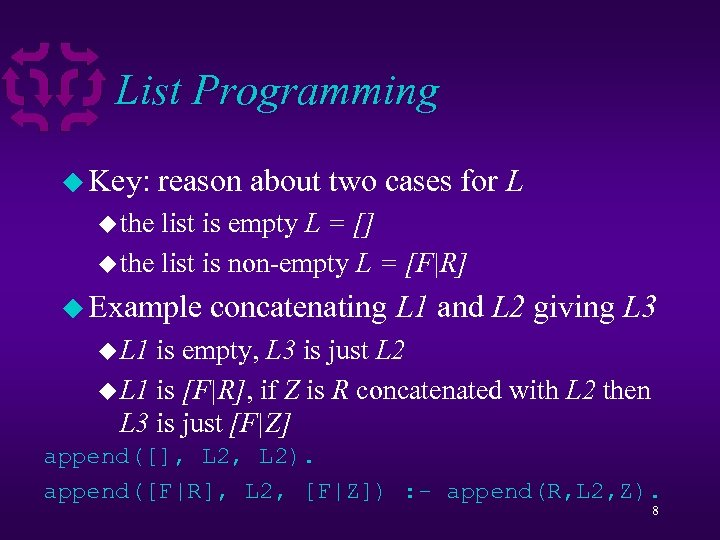 List Programming u Key: reason about two cases for L u the list is