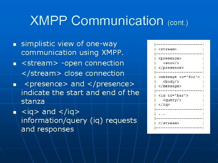 XMPP Communication (cont. ) n n simplistic view of one-way communication using XMPP. <stream>