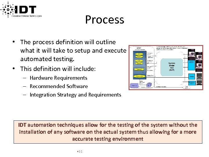 Process • The process definition will outline what it will take to setup and