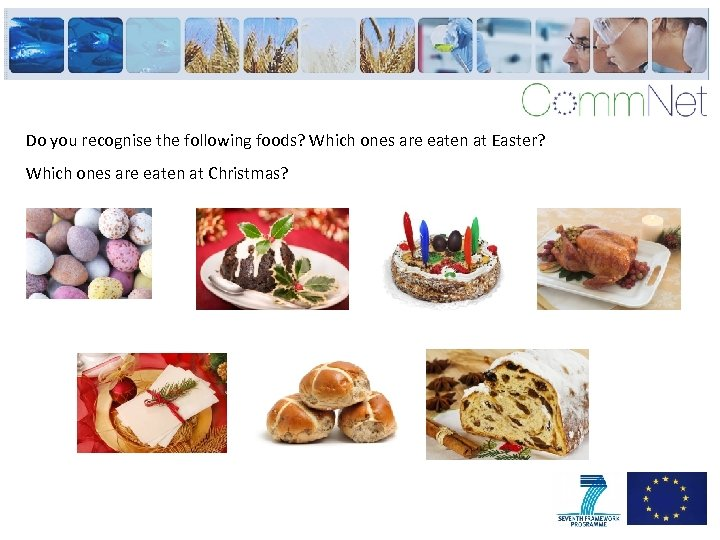 Do you recognise the following foods? Which ones are eaten at Easter? Which ones