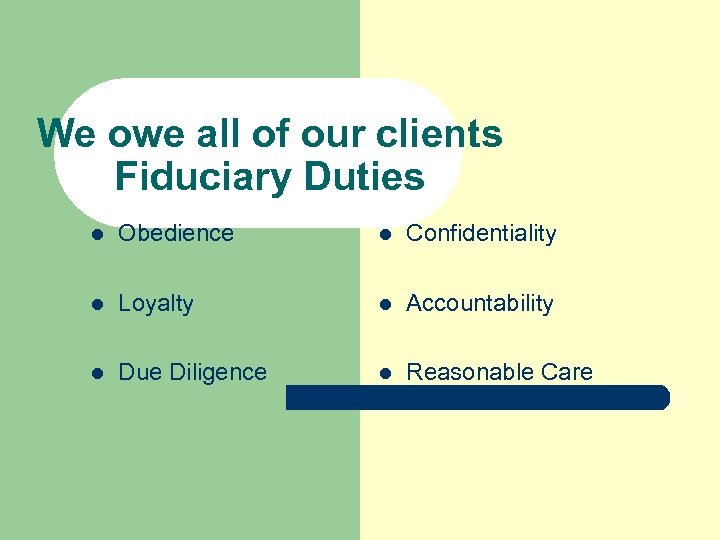 We owe all of our clients Fiduciary Duties l Obedience l Confidentiality l Loyalty