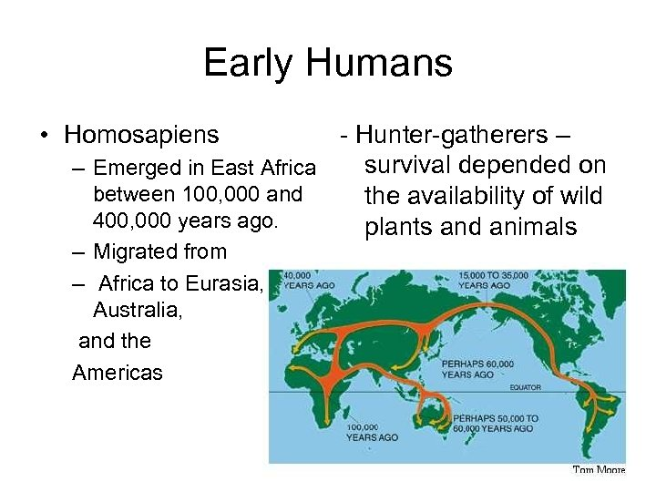Early Humans • Homosapiens - Hunter-gatherers – survival depended on – Emerged in East