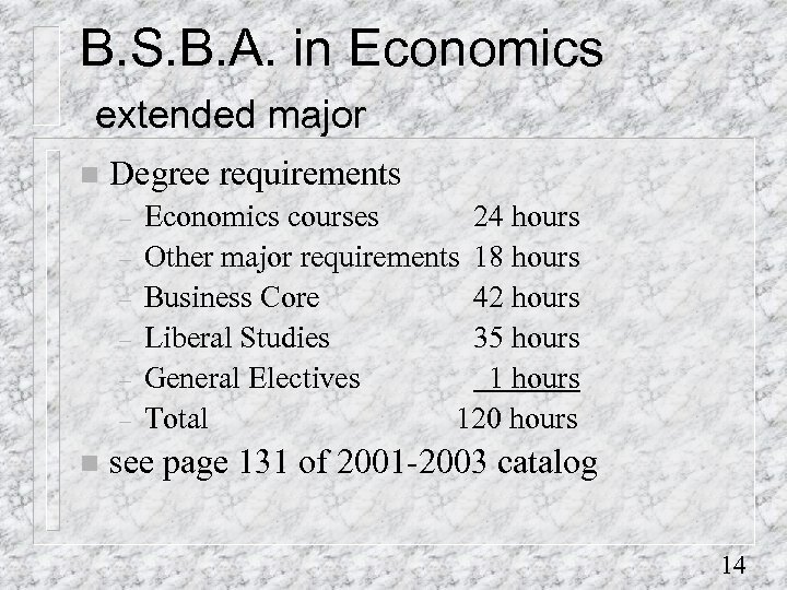 B. S. B. A. in Economics extended major n Degree requirements – – –