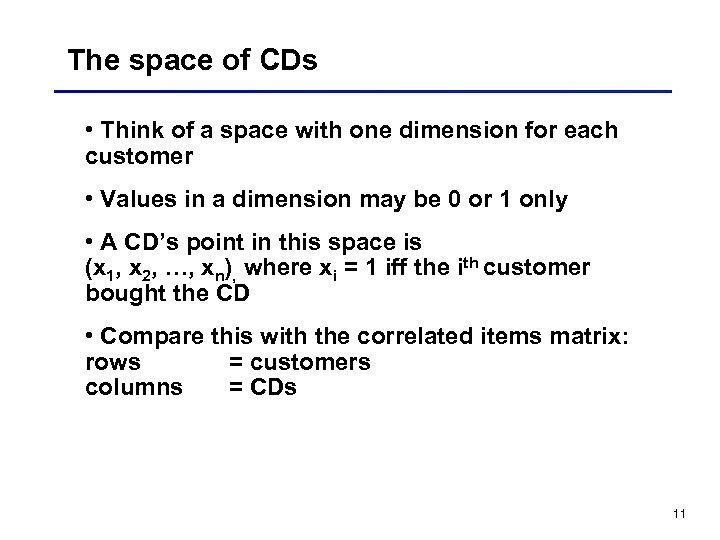 The space of CDs • Think of a space with one dimension for each